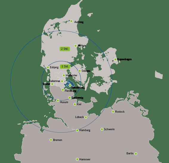 Karte von Südjütland
